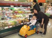 Child driving shopping cart in Japan