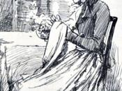 English: Elinor from Elinor and Edward at Barton, in Austen, Jane. Sense and Sensibility. London: George Allen, 1899. Français : Portrait d'Elinor, extrait de la gravure de Chris Hammond représentant la demande en mariage d'Edward