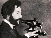 An actor portraying speaking into a early model of the telephone for a 1926 promotional film by the American Telephone & Telegraph Company (AT&T): see 1926 recreation of Alexander Graham Bell inventing the telephone. AT&T Archives. Archived from the o