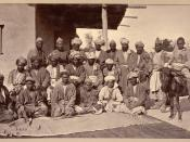 Besudi Hazara chieftains, taken by John Burke in 1879–80, possibly at Kabul, Afghanistan.