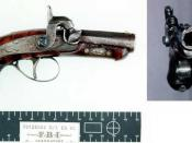 FBI photo of the Henry Deringer pistol (generically known as a derringer) used by Booth in the assassination of Lincoln. Source: http://www.fbi.gov/hq/lab/fsc/backissu/jan2001/images/pistol1b.jpg used in article at http://www.fbi.gov/hq/lab/fsc/backissu/j