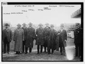 At World Series game, NY: John Whalen, Admiral Osterhaus, R. Waldo, Capt. Hill, Gov. Foss, R.A.C. Smith, Mayor Gaynor, Mayor Fitzgerald, Boston  (LOC)