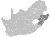 Map showing the districts of KZN.