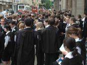 Students in academic dress outside the Exam Schools, Oxford.