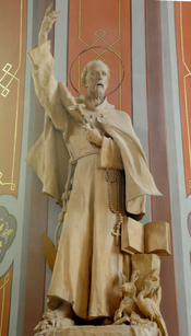 Saint Francis in the Parish church of St. Ulrich in Gröden - Ortisei. Sculpture in wood by Johann Baptist Moroder-Lusenberg 1910
