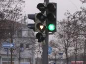 Traffic light in Munich, Germany, showing a special bus signal.