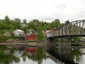 Sundet, the municipal center, with the old bridge