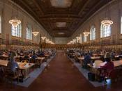 English: A panorama of a research room taken at the New York Public Library with a Canon 5D and 24-105mm f/4L IS. Español: Vista panorámica del interior de la sala de lectura de la Biblioteca Pública de Nueva York. Français : Vue panoramique d'une salle d