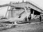 The collapsed Silver Bridge, as seen from the Ohio side