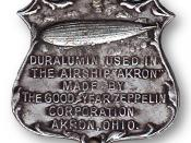English: Sample of Duralumin used in the construction of the US Navy airship USS Akron (ZRS-4) manufactured by the Goodyear Zeppelin Co., Akron, OH.