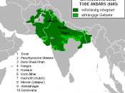 The Mughal Empire at Akbar's death in 1605. Fully integrated territories in dark green, dependent territories in light green