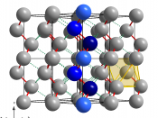 Crystal structure of tellurium consisting of Te chains along the 3 1 -screw axis parallel to c-axis. Distorted octahedral coordination sphere (2+4) of one atom is highlighted as yellow octahedron. One chain is highlited in blue colors where the dark blue