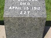 Gravestone of Joseph Dawson, member of the crew of the RMS Titanic. He died in the Titanic disaster on April 15, 1912 when the Titanic sunk into the Atlantic Ocean. many fans of the movie Titanic think that this gravestone belongs to Jack Dawson, who was