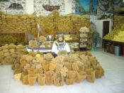 English: Display of natural sponges for sale on Kalymnos in Greece.
