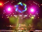 This is one of my favorite pictures I've taken. Phish performing at the Gorge on July 13, 2003. Left to right: Page McConnell, Trey Anastasio, Jon Fishman, Mike Gordon. Visual effects by Chris Kuroda.