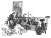 Illustration signed by C[yrus] Fosmire which appeared in McClures Magazine with The Griswold Divorce Case by Frederic Taber Cooper, representing a hearing before a divorce referee held in a law office as part of the proceeding for a Divorce in New York Ci