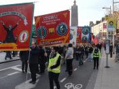 Trade Union banners at May Day rally 2013 in Dublin