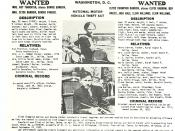 US Department of Justice, Division of Investigation identification order for Bonnie Parker and Clyde Barrow.