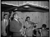 [Portrait of Charlie Parker, Tommy Potter, Miles Davis, Duke Jordan, and Max Roach, Three Deuces, New York, N.Y., ca. Aug. 1947] (LOC)