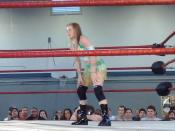 Professional wrestler Candice LaRae in the ring during an eight person tag team match at PWG DDT4 Night 2 on May 18, 2008.