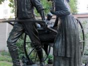 English: The Handcart Pioneer Monument, a statue commemorating Mormon handcart pioneers, found on Temple Square in Salt Lake City, Utah. The original 1926 bronze by Torlief Soviren Knaphus was reproduced life-size in 1945 for .