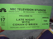 English: Image of a ticket used to gain admission to the show Late Night with Conan O'Brien.