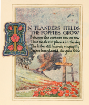 Page 1 of the main content from a limited edition book containing an illustrated poem, In Flanders Fields, 1921