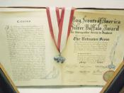 English: Photograph pf the Silver Buffalo citation presented to the Unknown Scout. Gilwell Park Museum,Epping Forest, England