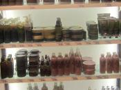 English: shelf with body shop products