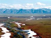 English: Area of the Arctic National Wildlife Refuge coastal plain, looking south toward the Brooks Range mountains.
