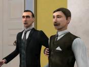 Français : Capture d'écran du jeu Sherlock Holmes : La Boucle d'argent. On y voit Sherlock Holmes et le Docteur Watson à Sherringford Hall, encore interloqués par l'assassinat de Sir Bromsby qui vient tout juste de se produire.