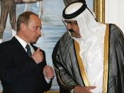 English: DOHA. With the Emir of Qatar, Sheikh Hamad bin Khalifa al-Thani. Русский: ДОХА. С Эмиром Катара шейхом Хамадом бен Халифой аль-Тани.