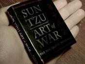 2003 Running Press Miniature Edition™ of Sun Tzu's The Art of War (ISBN 0-7624-1598-3). 1994 Ralph D. Sawyer translation. The book is 7 cm wide and 8.5 cm tall, human hand shown for scale. Taken and released into the public domain by User:Kallemax.