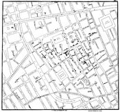 Original map made by John Snow in 1854. Cholera cases are highlighted in black.