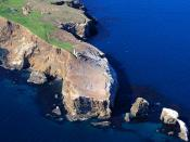English: Aerial photo: Anacapa Island Lighthouse in the Santa Barbara Channel Islands, California.