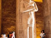 A statue of Ramesses II in the main corridor of his temple in Abu Simbel, Egypt