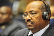 English: Omar Hassan Ahmad al-Bashir, the president of Sudan, listens to a speech during the opening of the 20th session of The New Partnership for Africa's Development in Addis Ababa, Ethiopia, Jan. 31, 2009.