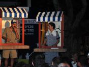 English: Actors acting up a Yiddish play at Rothschild Blvd. Taken at the