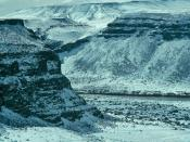 Snow covered cliffs of Snake River Canyon, Idaho, managed by the Boise District of the BLM