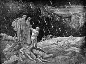 High resolution scan of engraving by Gustave Doré illustrating Canto XV of Divine Comedy, Inferno, by Dante Alighieri. Caption: Brunetto Latini accosts Dante