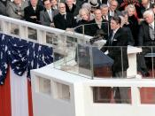 English: President Ronald Reagan, the 40th president of the United States of America, delivers his inaugural address from the specially built platform in front of the Capitol during Inauguration Day ceremony.