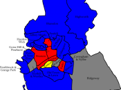 English: A map of the results of the 2006 Swindon Council election. Colour legend by wards won: Conservative party Labour party Liberal Democrats Wards in grey were not contested in 2006.