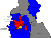 English: A map of the results of the 2007 Swindon Council election. Colour legend by wards won: Conservative party Labour party Liberal Democrats Wards in grey were not contested in 2007.