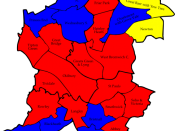 English: A map of the results of the 2008 Sandwell Council election. Colour legend by wards won: Labour party Conservative party Liberal Democrats