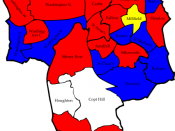 English: A map of the results of the 2008 Sunderland Council election. Colour legend by wards won: Labour party Conservative party Independent Liberal Democrats