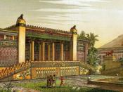 A panoramic view of the gardens and outside of the Palace of Darius I of Persia in Persepolis. Virtual recreation by Charles Chipiez (1835-1901). He created some of the most advanced virtual drawings of what Persepolis would have looked like as a metropol