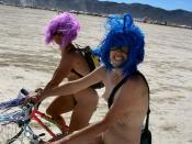 English: Naked bike ride at the Burning Man