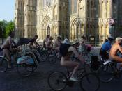 York Naked Bike Ride 2006, in front of the York Minster