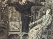 Hamlet and Ophelia (1858), pen and ink drawing