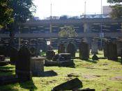 English: Graveyard next to The Royals car park. Parking for long and short term.
